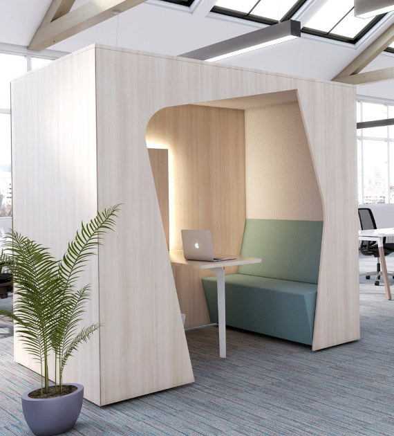 HOLI.E Concept - Aménagement espace de travail - cabine reunion bois