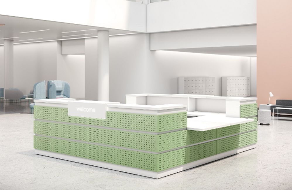 HOLI.E Concept - Aménagement espace de travail - Banque d'acceuil verte et blanche moderne