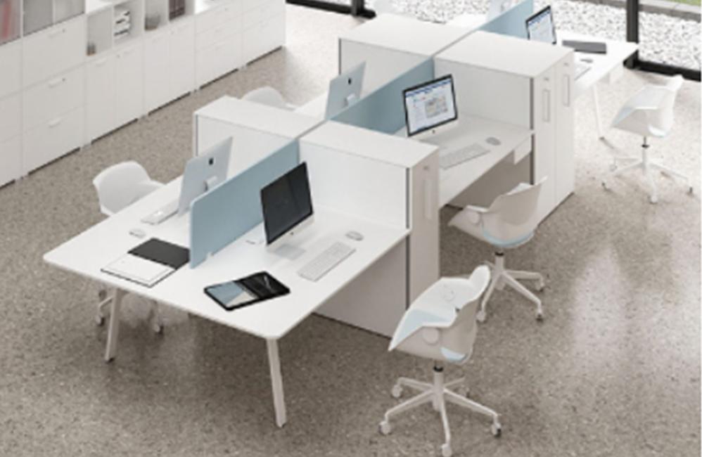 HOLI.E Concept - Aménagement espace de travail - Openspace avec rangements blanc