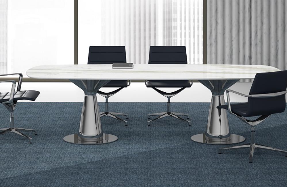 HOLI.E Concept - Aménagement espace de travail - Espace de réunion moderne noir pied chromé
