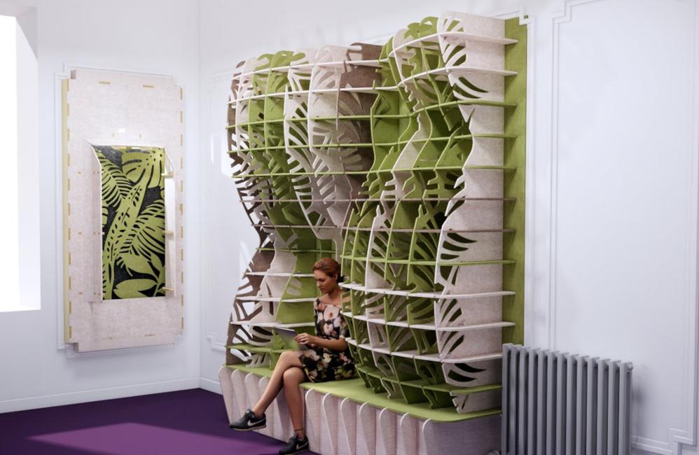 HOLI.E Concept - Aménagement espace de travail - Panneau phoniques 3D originaux bicolore