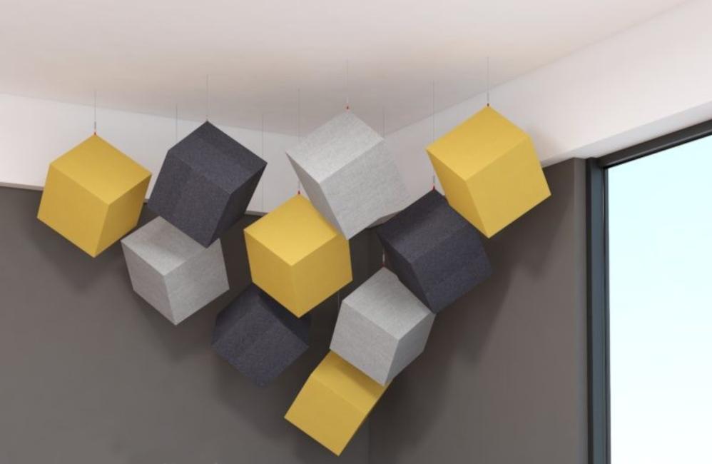 HOLI.E Concept - Aménagement espace de travail - Suspension cube acoustique 3d architecture original