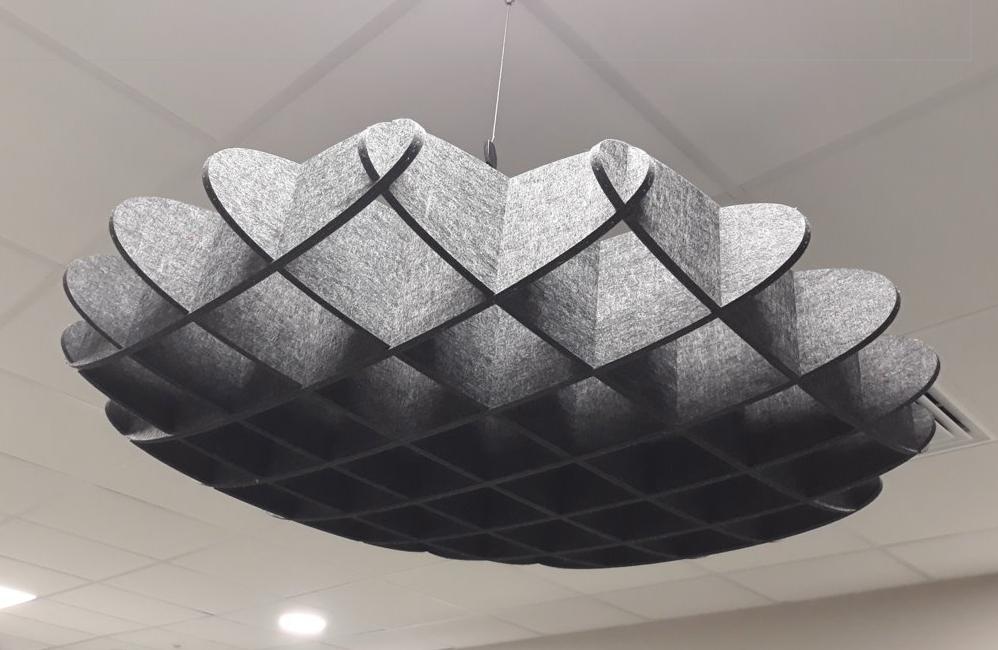 HOLI.E Concept - Aménagement espace de travail - Suspension gauffrette acoustique 3d architecture original
