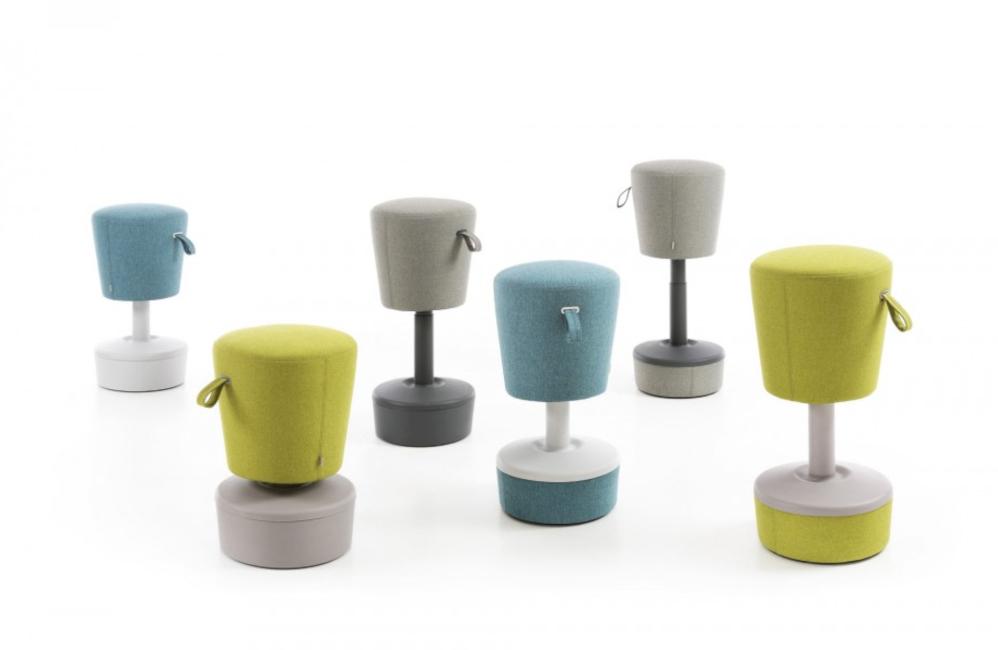 HOLI.E Concept - Aménagement espace de travail - Tabourets ergonomique dynamique tissu confort mickey