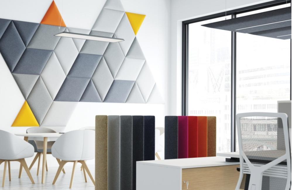HOLI.E Concept - Aménagement espace de travail - Panneau phonique acoustique triangle mural tangram