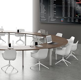 HOLI.E Concept - Aménagement espace de travail - Table de réunion ronde coopérative bois