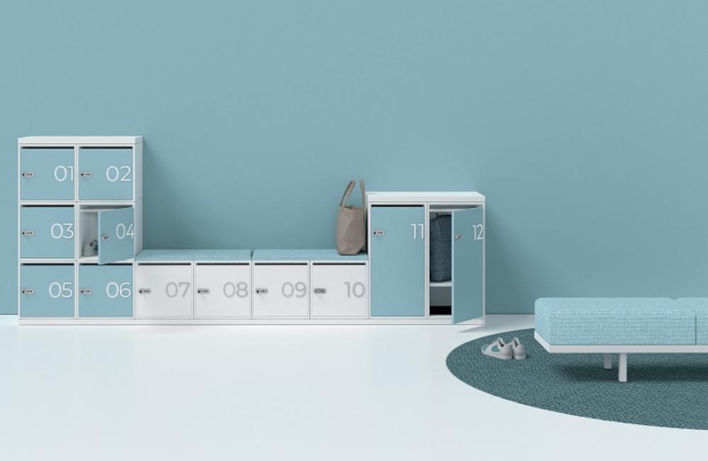 HOLI.E Concept - Aménagement espace de travail - Casiers individuels serrure code