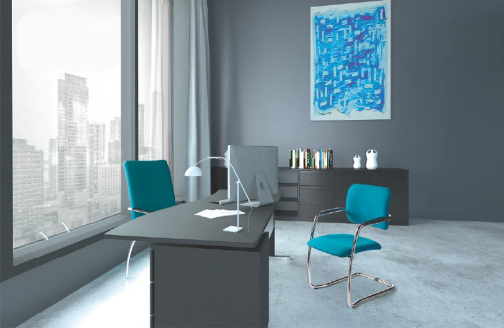 HOLI.E Concept - Aménagement espace de travail - Bureau de direction avec des chaises bleu canard moderne