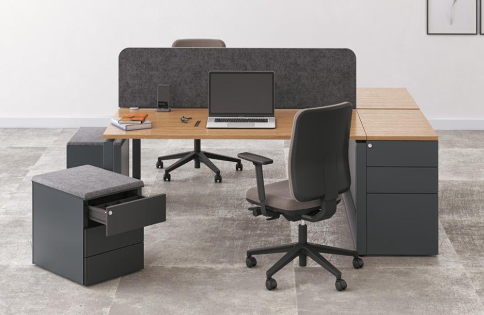 HOLI.E Concept - Aménagement espace de travail - Bureau gris rangements caisson