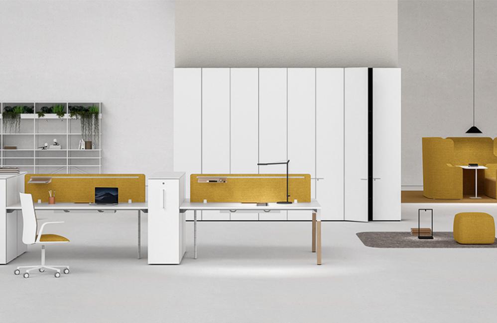 HOLI.E Concept - Aménagement espace de travail - Separation acoustique jaune