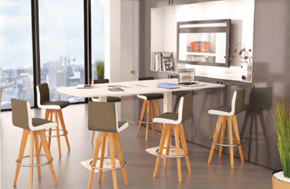 HOLI.E Concept - Aménagement espace de travail - Table haute chaise pied bois